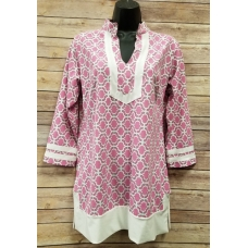 Erma's Closet Hot Pink and White Print Tunic